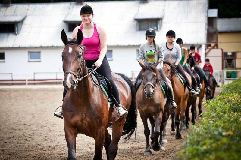 młodzież w czasie nauki jazdy konnej